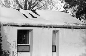 Single Story House with Ice Dam
